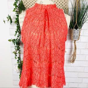 Love Fire coral orange lace top size M